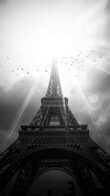 Monochrome Eiffel Tower iPhone Wallpaper