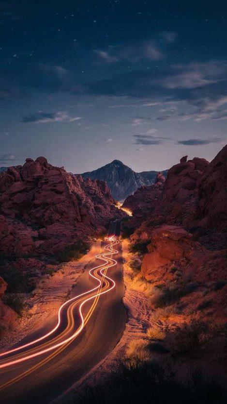 Mountains Road Night Exposure iPhone Wallpaper