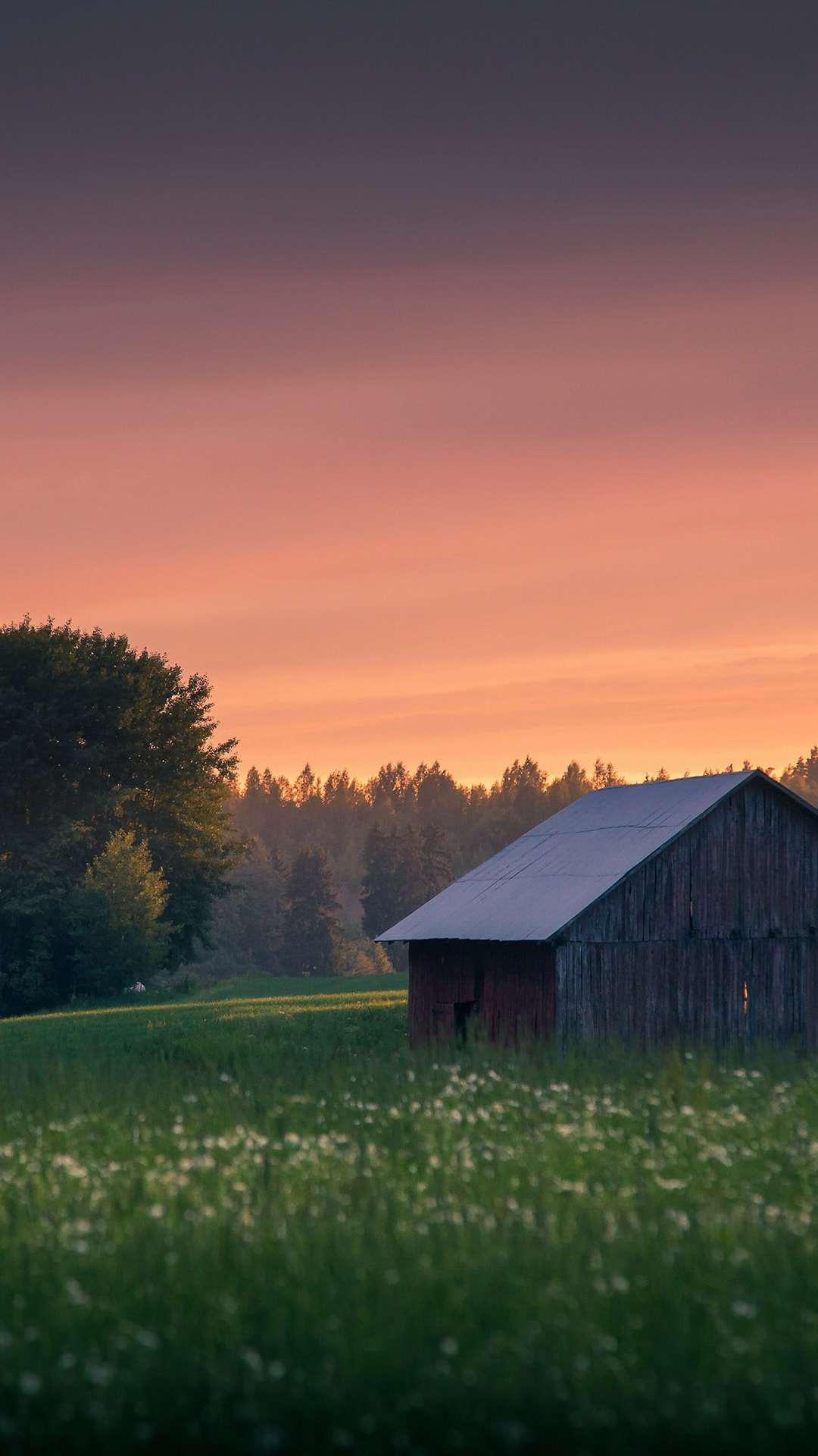 Nature Cabin Sunset Beautiful iPhone Wallpaper