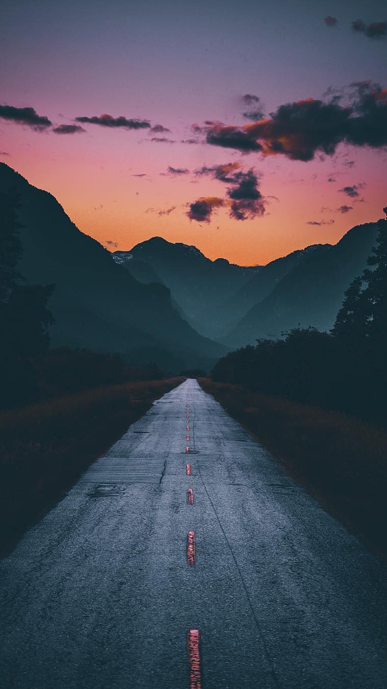 Nature Road Mountain Sunrise iPhone Wallpaper