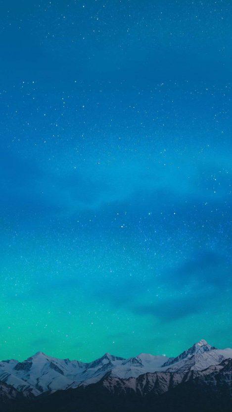 Night Sky Stars Mountains iPhone Wallpaper