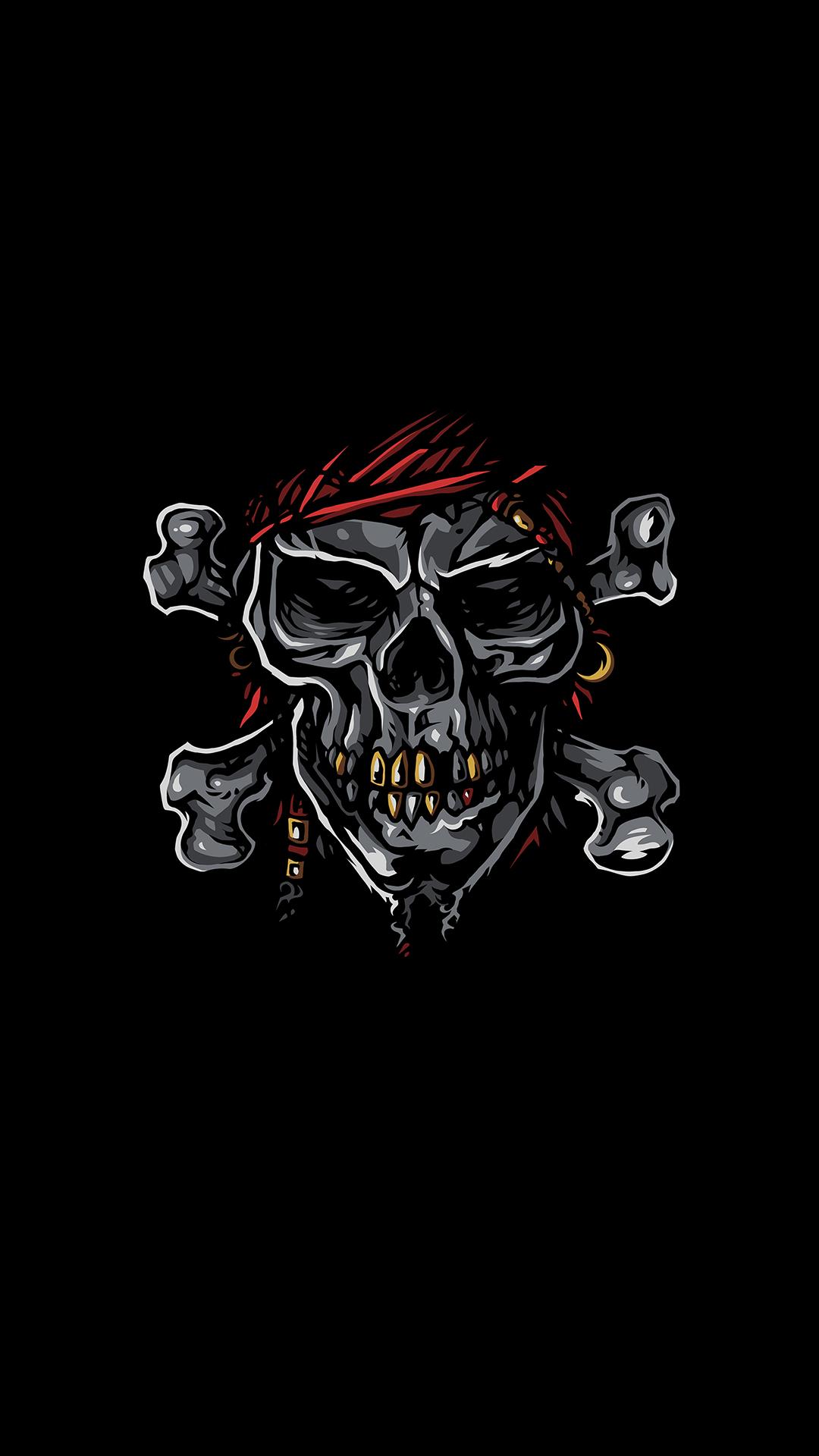 Pirate Skull Minimal iPhone Wallpaper