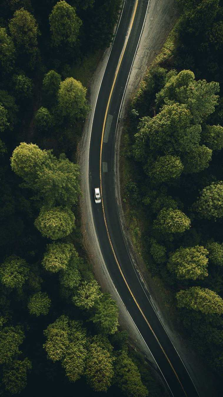 Sky View Nature Forest Road iPhone Wallpaper