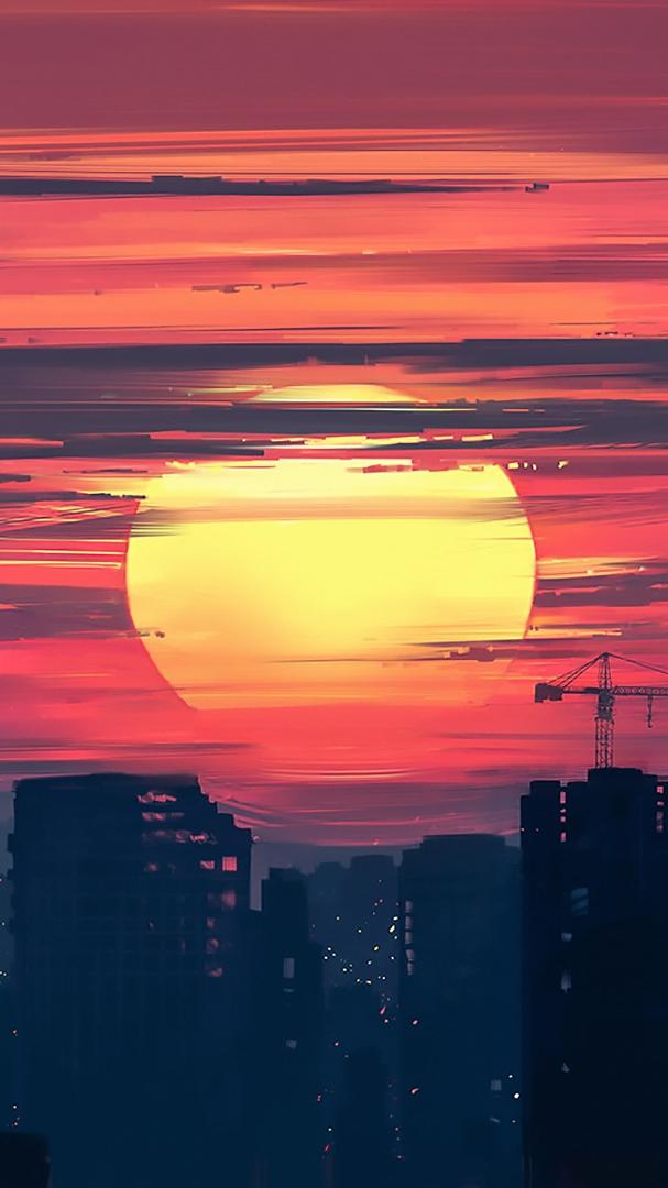 Sunset Painting Art iPhone Wallpaper