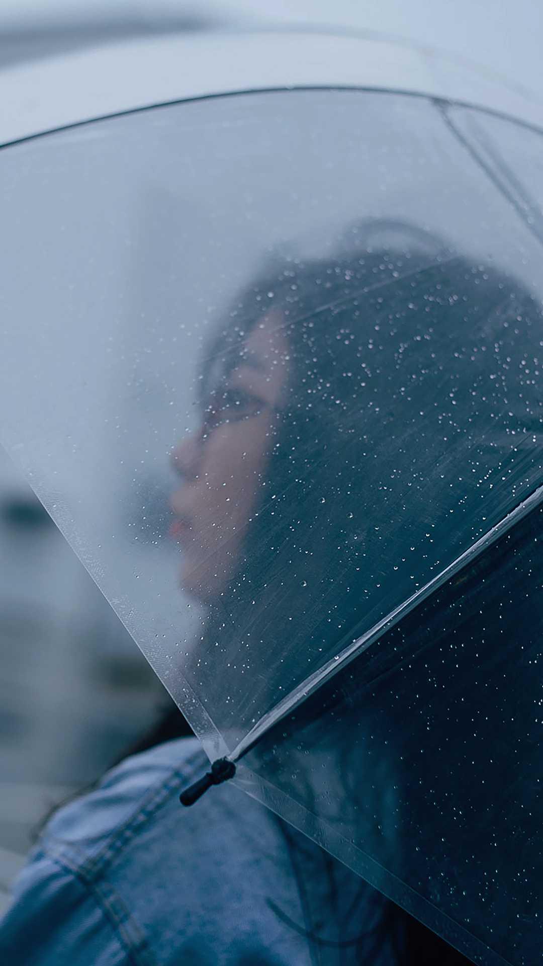 Transparent Umbrella Girl Rain Drops iPhone Wallpaper