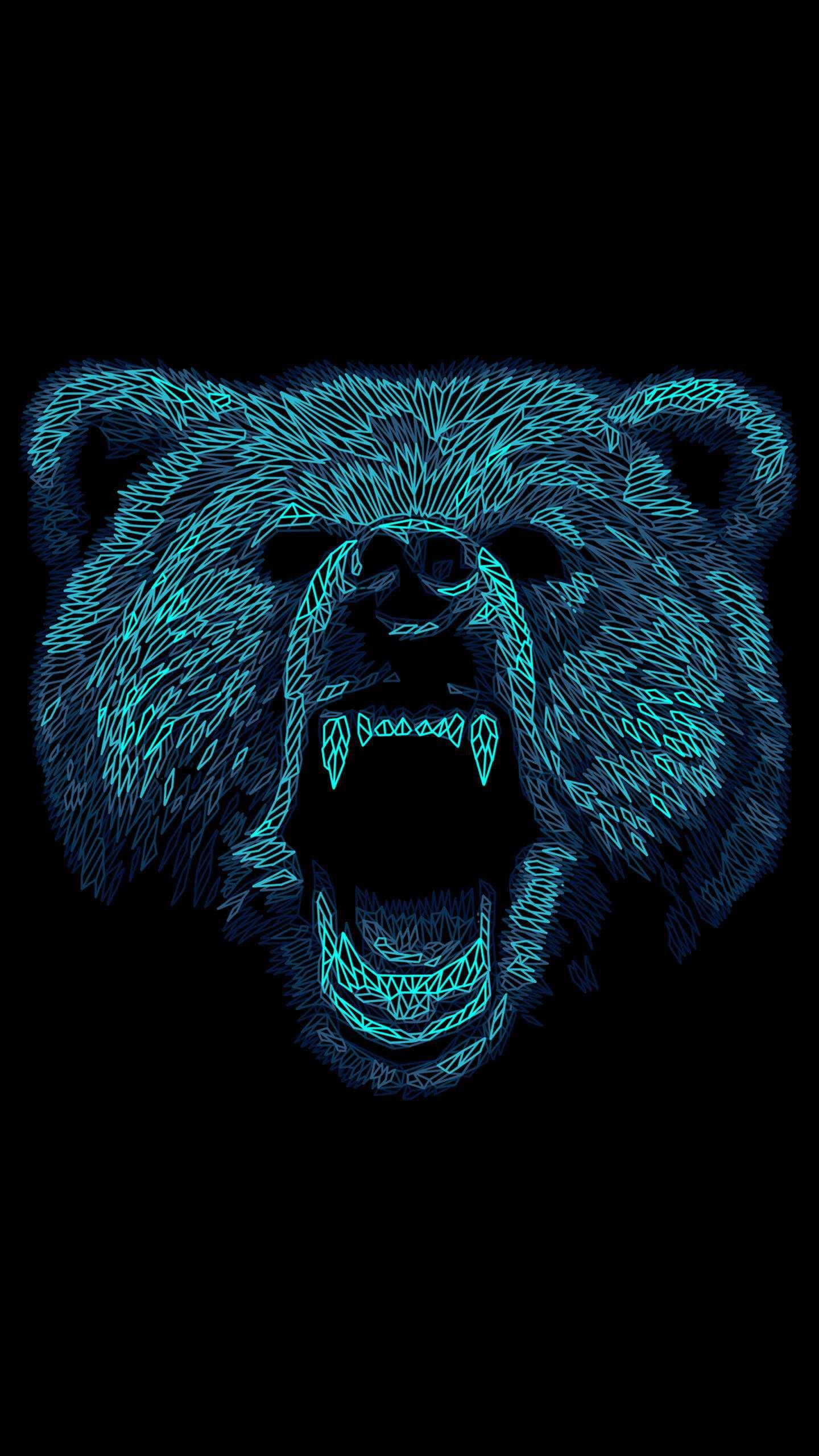 Angry Bear Art iPhone Wallpaper