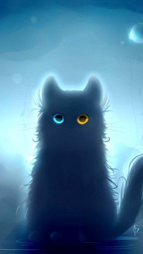 Art Heterochromia Black cat iPhone Wallpaper