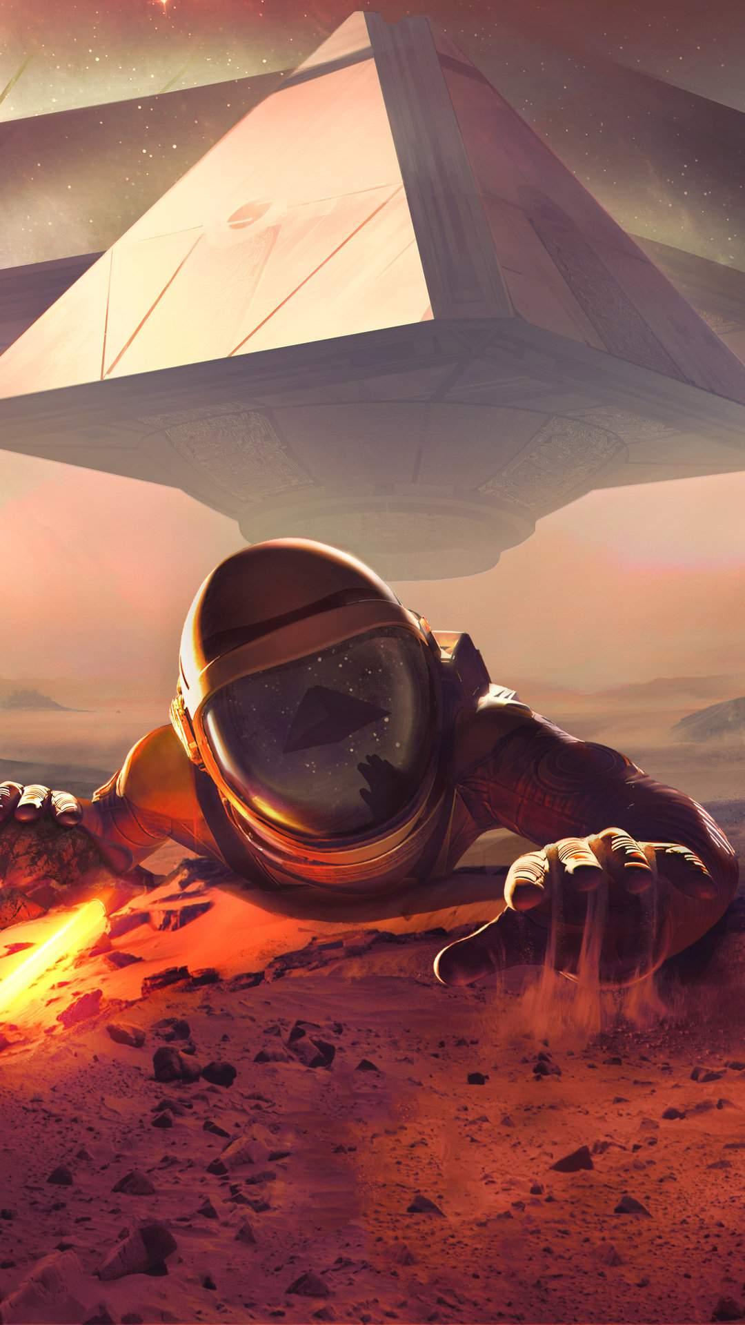 Astronaut Mars Mission iPhone Wallpaper