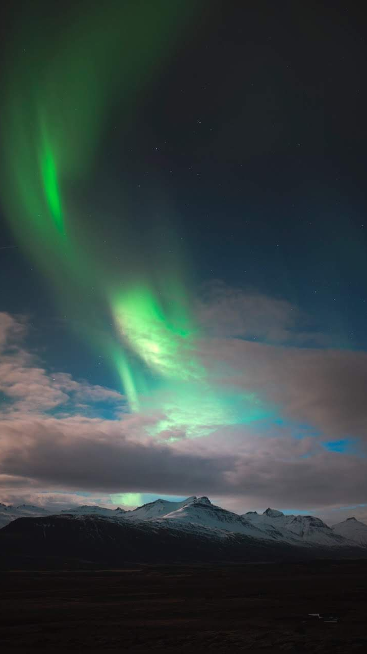 Aurora Over Mountains Alps iPhone Wallpaper