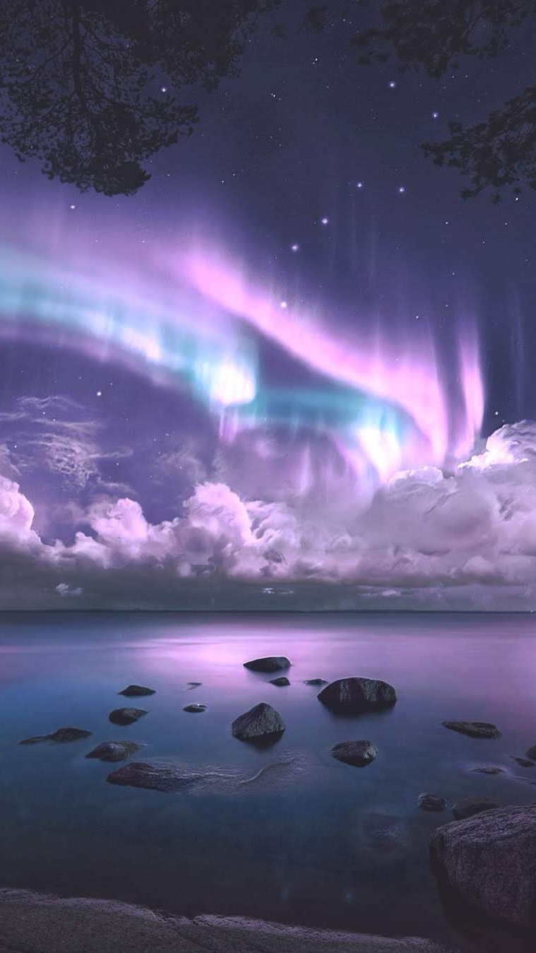Aurora Over Sea Night Beautiful iPhone Wallpaper