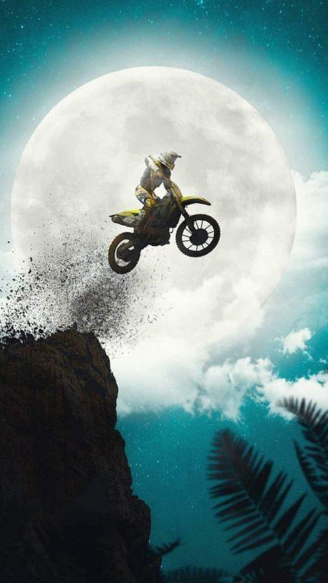 BIke Jump Moon iPhone Wallpaper