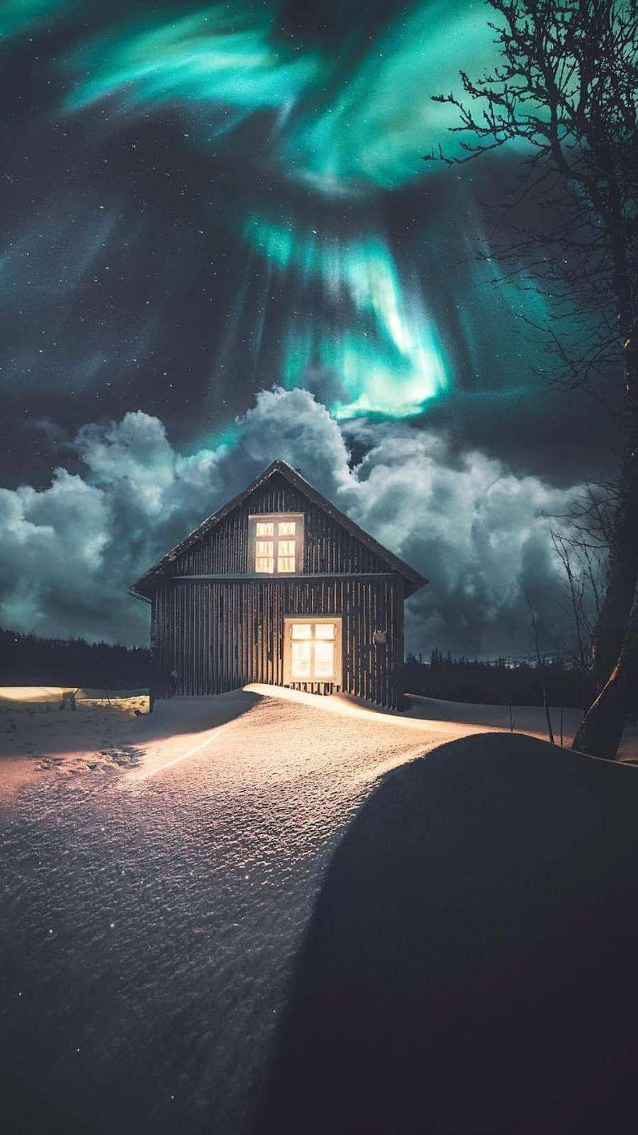 Beautiful Dreamy Night Winter Cabin iPhone Wallpaper