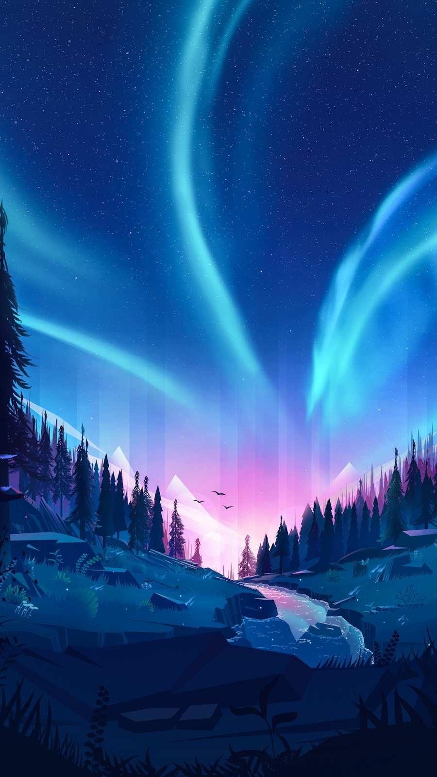 Beautiful Nature Aurora Sky Art iPhone Wallpaper