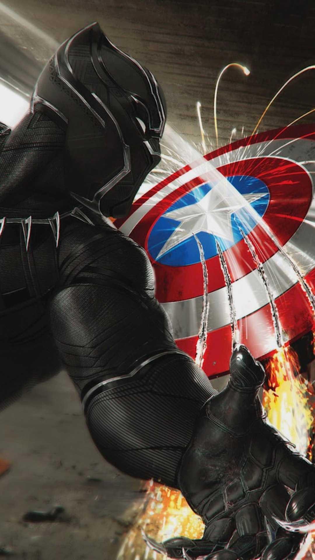 Black Panther vs Captain America iPhone Wallpaper