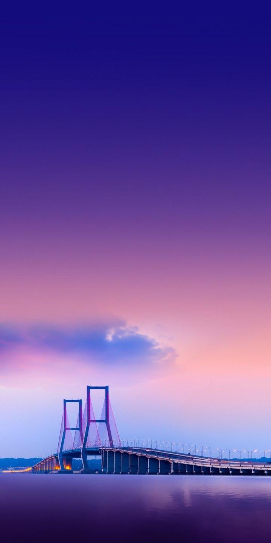 Bridge on Water Beautiful Sky iPhone Wallpaper