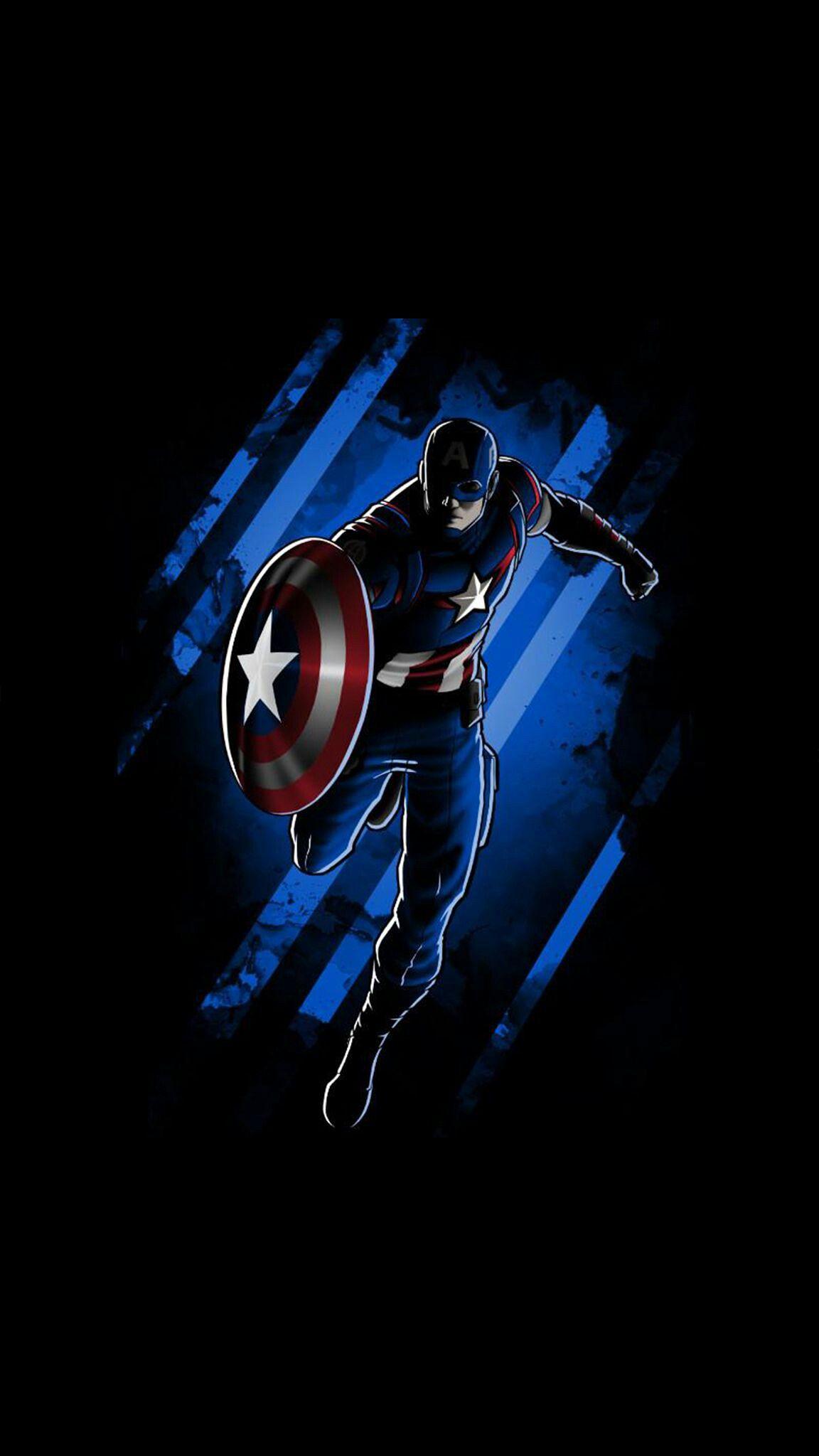 Captain America Dark Minimal Background iPhone Wallpaper