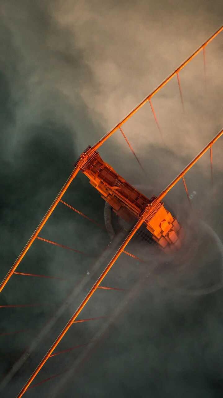 Cloudy Golden Gate Bridge Aerial View iPhone Wallpaper