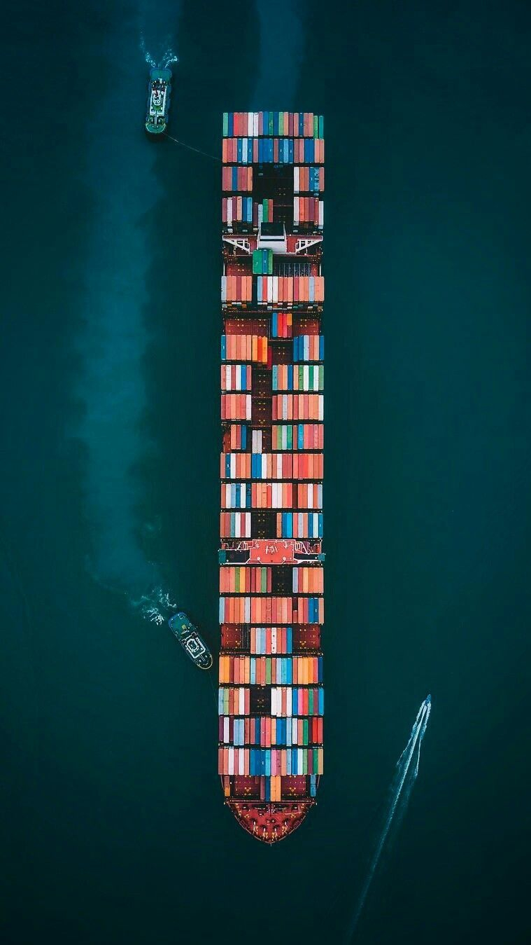 Container Ship Aerial View iPhone Wallpaper