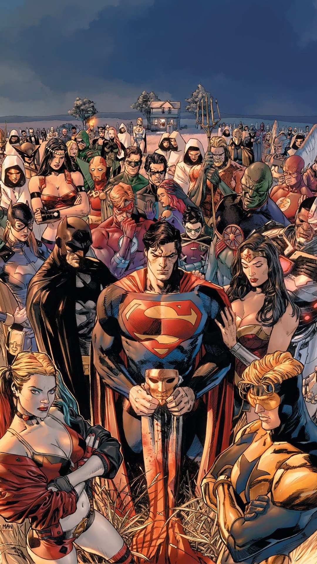 DC World Superheroes Together iPhone Wallpaper