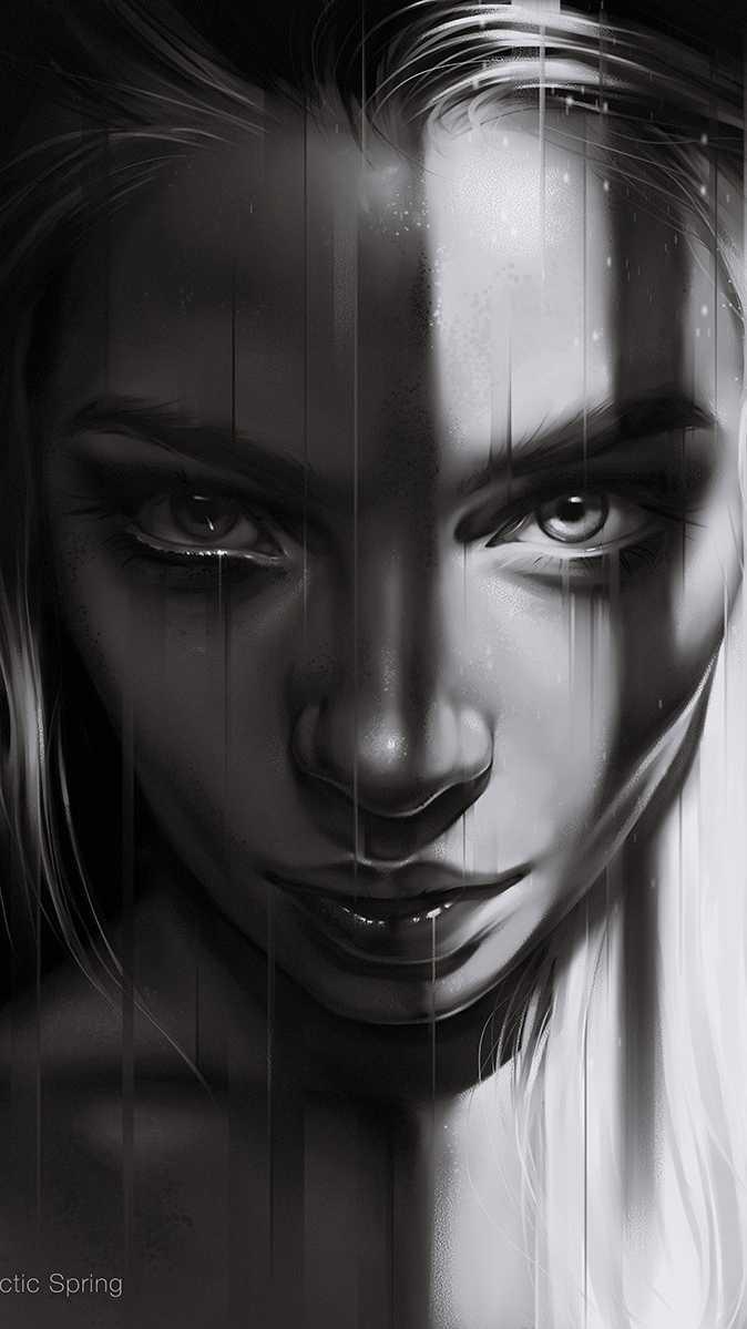 Dark Portrait Girl iPhone Wallpaper