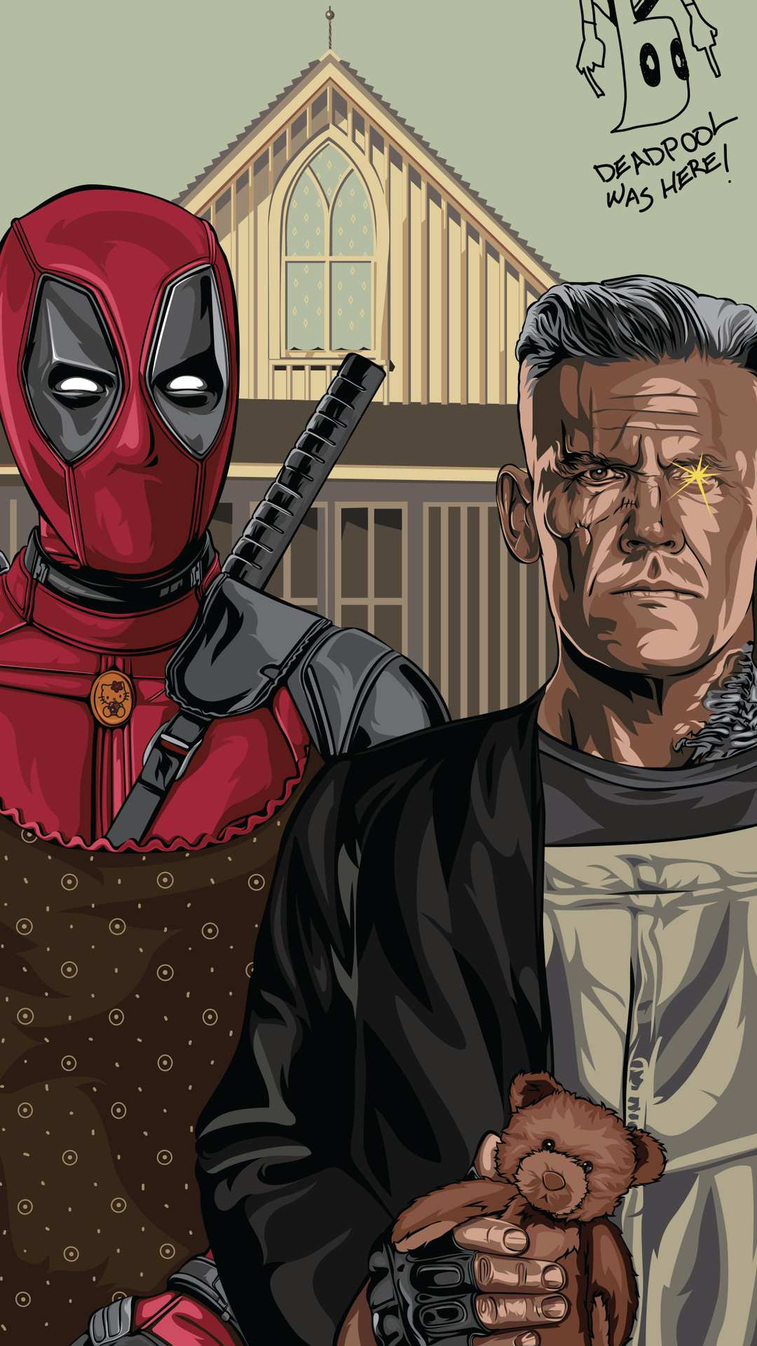 Deadpool and Cable iPhone Wallpaper