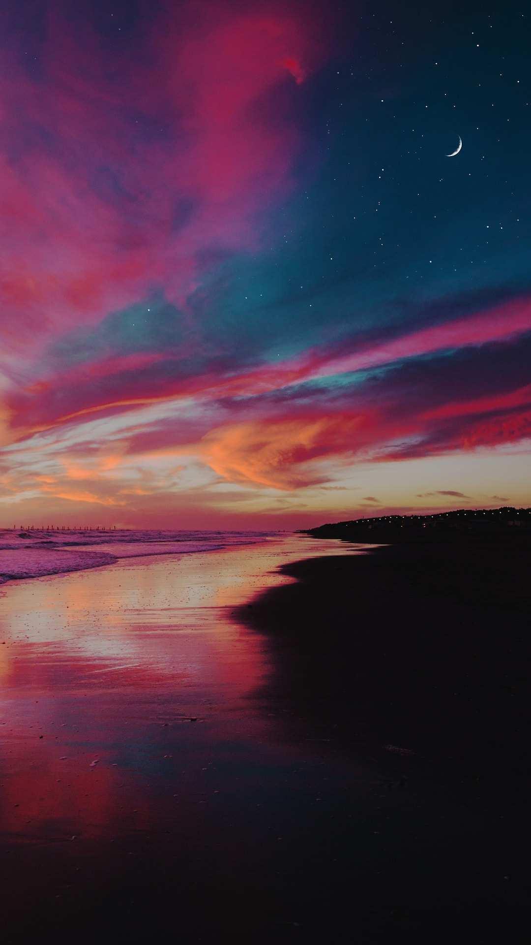 Evening Beach Sunset Clouds Half Moon iPhone Wallpaper