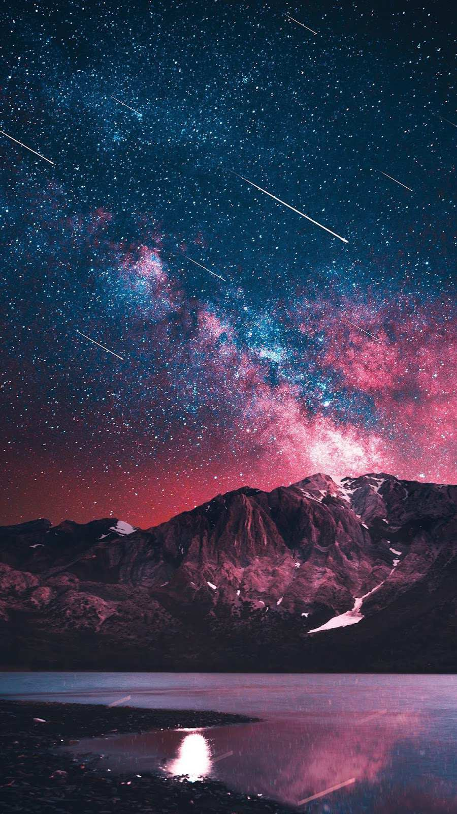 Galaxy View From Earth Night Nature Mountain iPhone Wallpaper