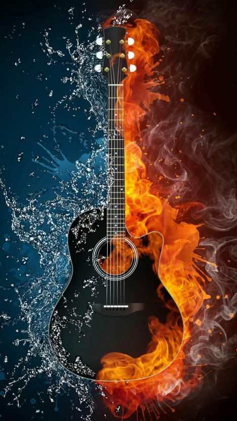 Guitar On Fire Iphone Wallpaper