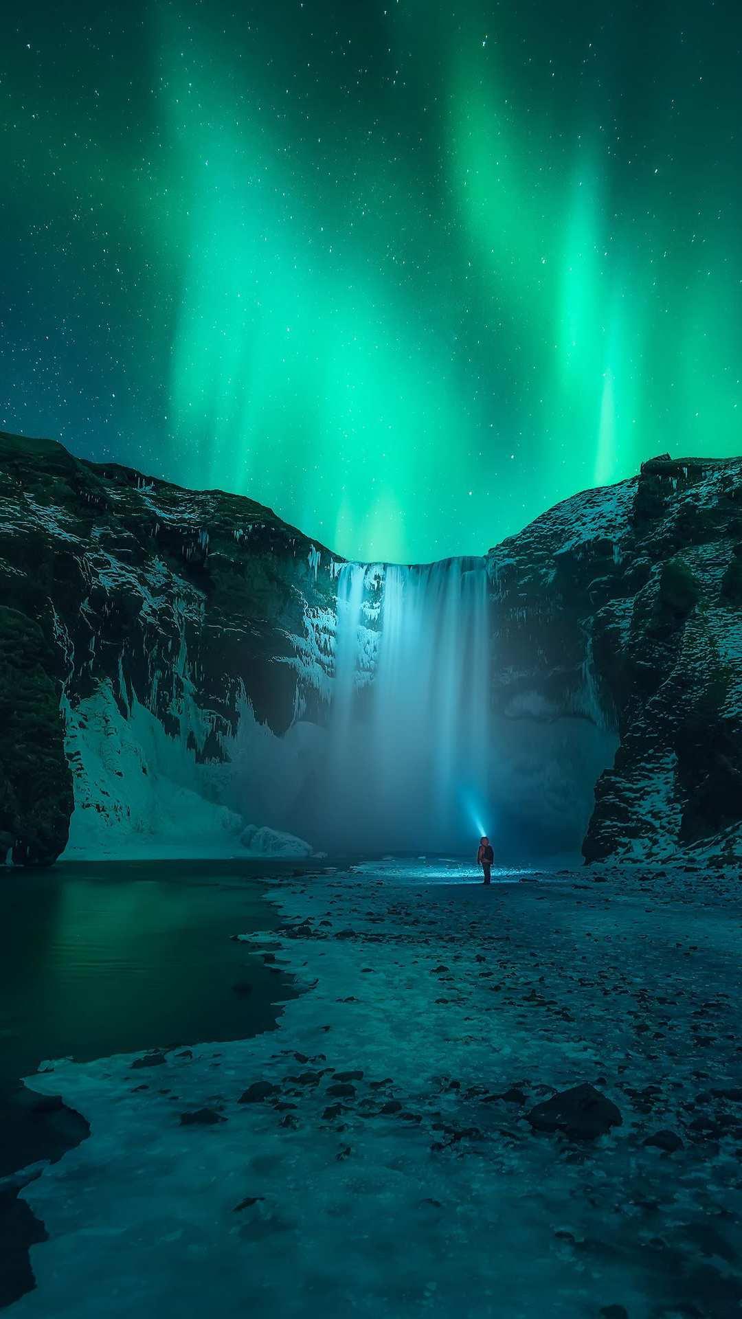 Iceland Waterfall Aurora in Sky iPhone Wallpaper