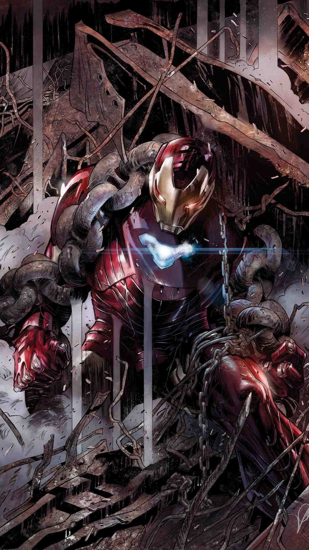 Iron Man Mark 50 Armour Fight iPhone Wallpaper