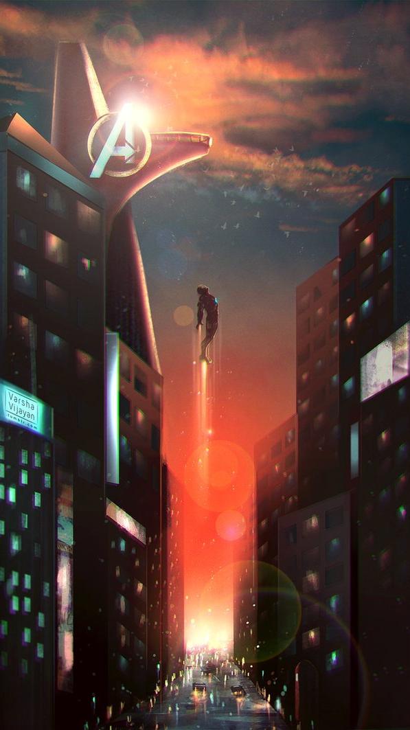 Iron Man Stark Tower iPhone Wallpaper