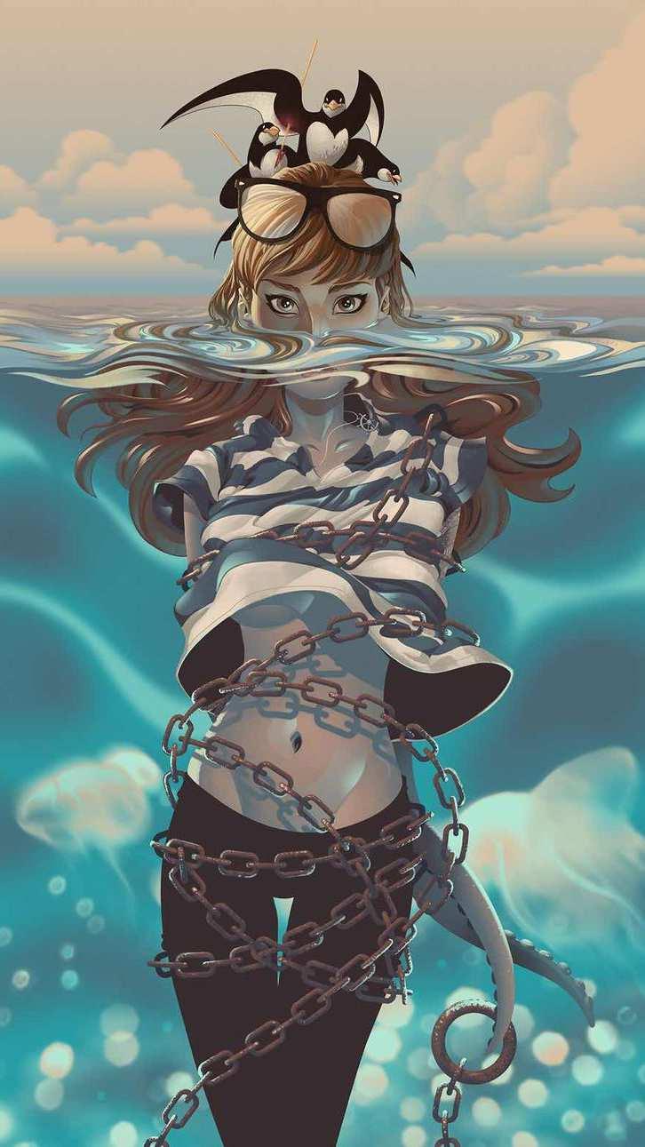 Mermaid Caged Under Sea iPhone Wallpaper