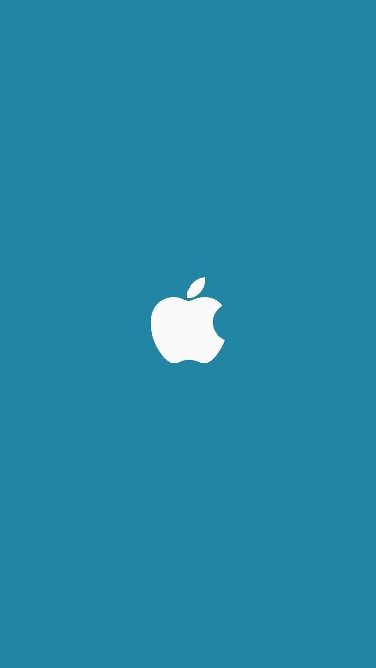 Minimal Apple Blue Background iPhone Wallpaper