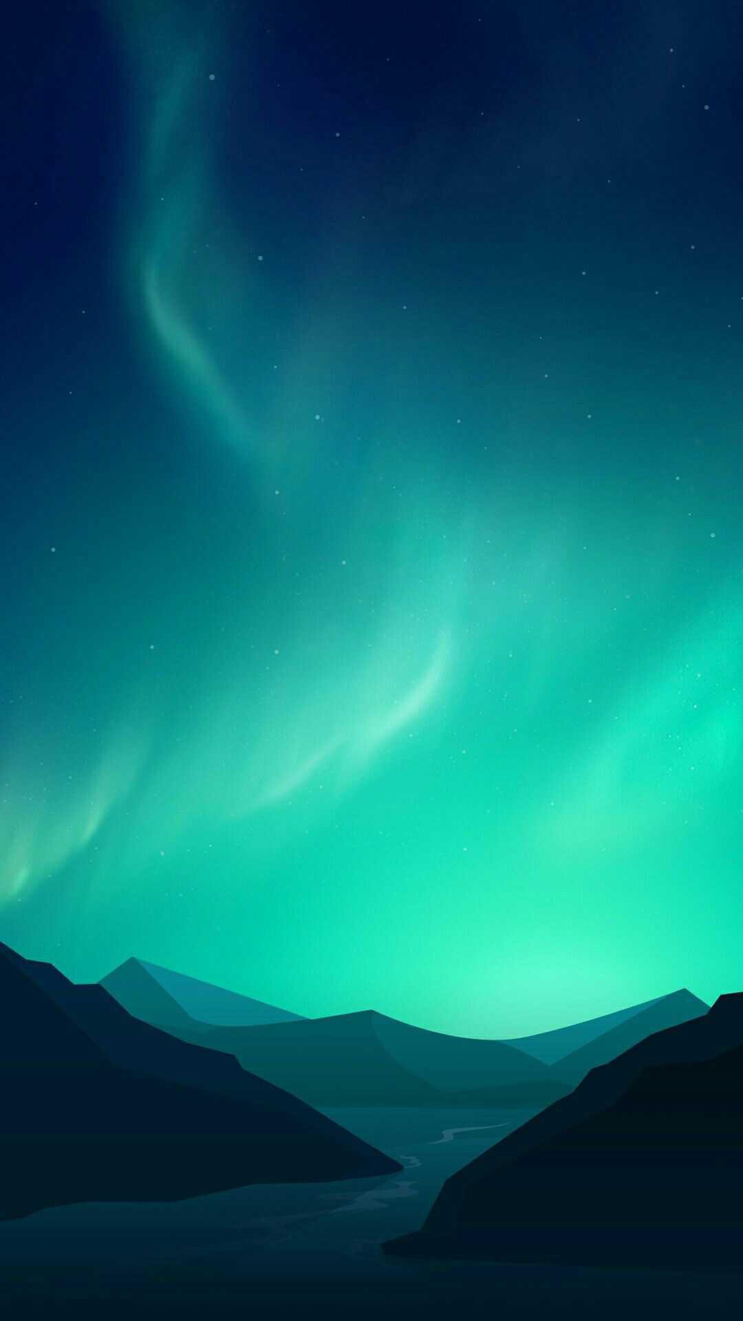 Minimal Aurora Sky Mountains iPhone Wallpaper