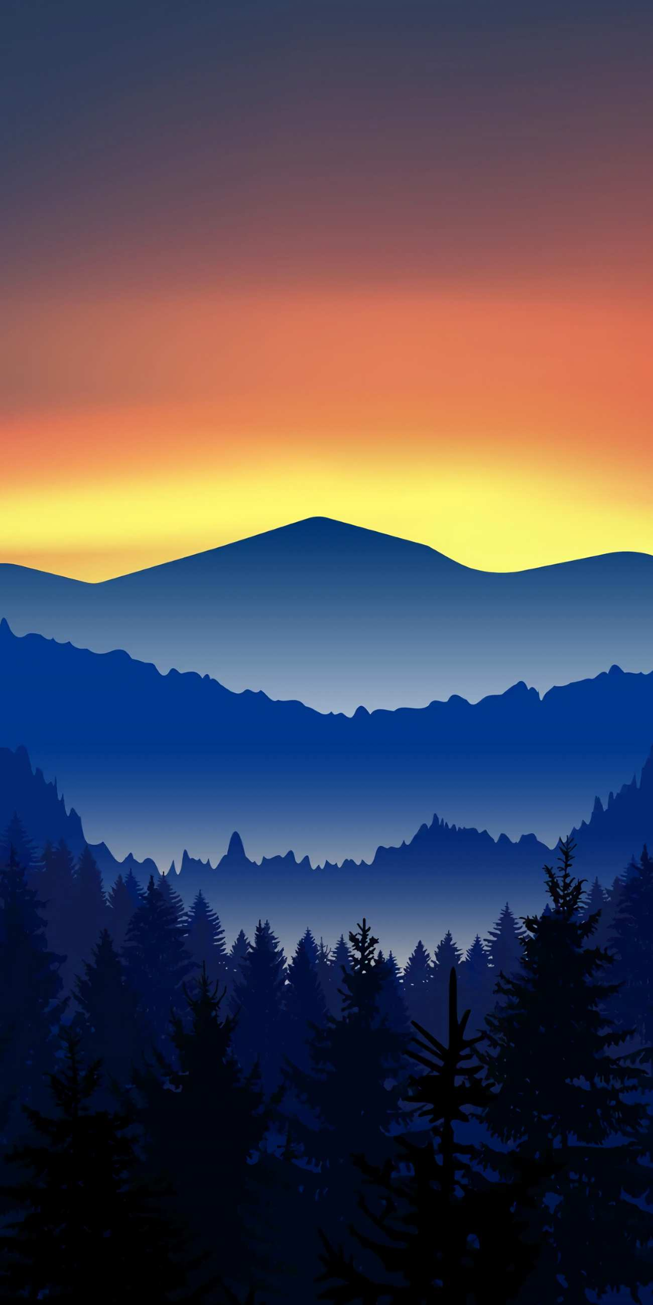 Minimal Mountains Forest Nature iPhone Wallpaper
