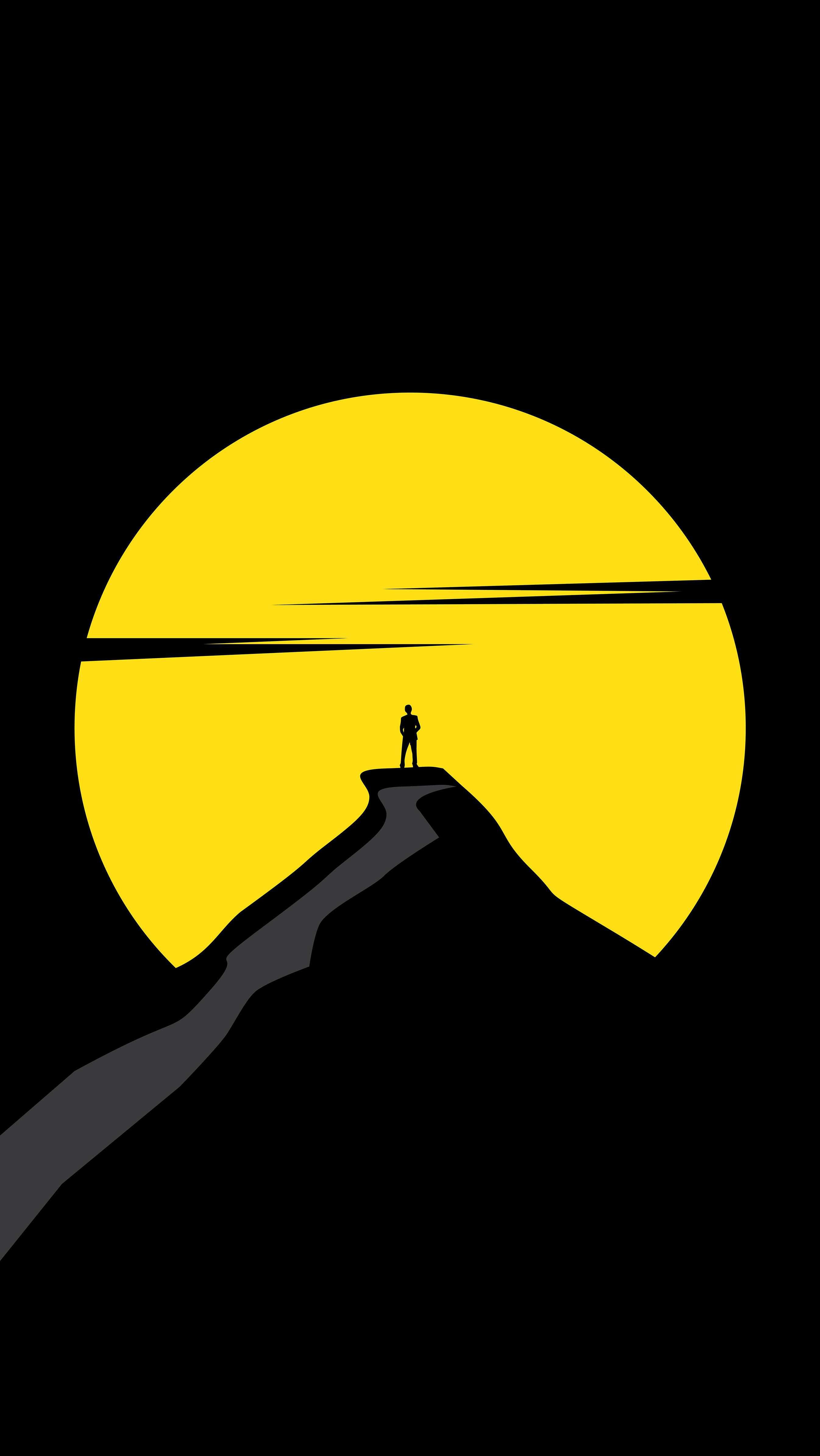 Minimal Yellow Sun iPhone Wallpaper