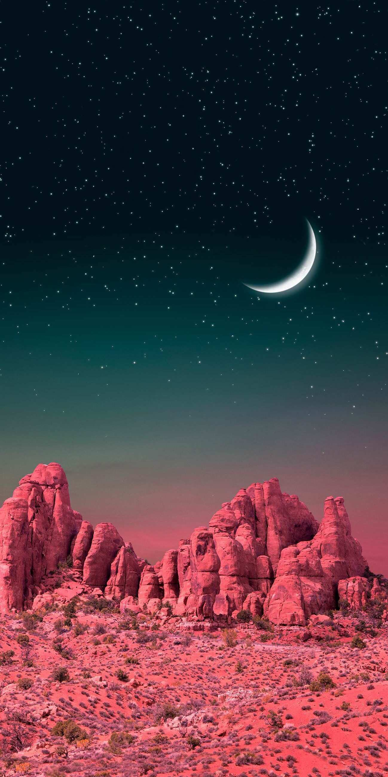 Moon in Monument Valley iPhone Wallpaper
