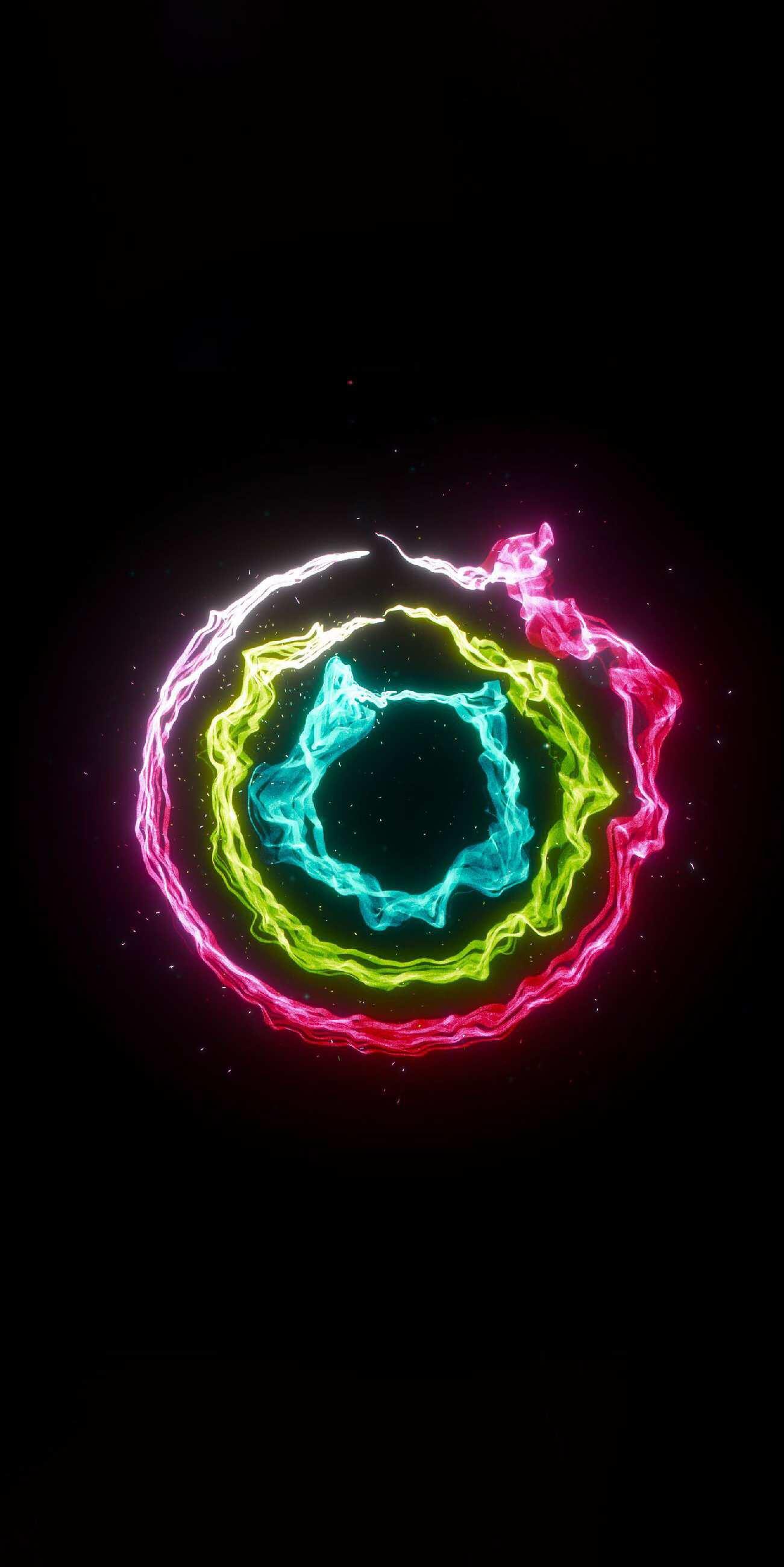 Neon Color Circles iPhone Wallpaper