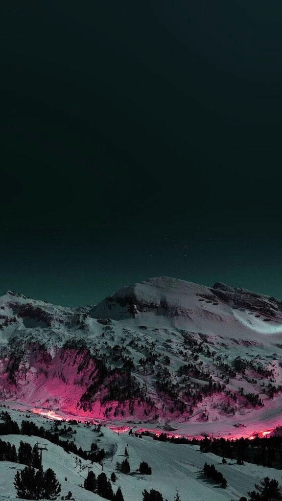Night Lights in Snow Mountains Winter iPhone Wallpaper