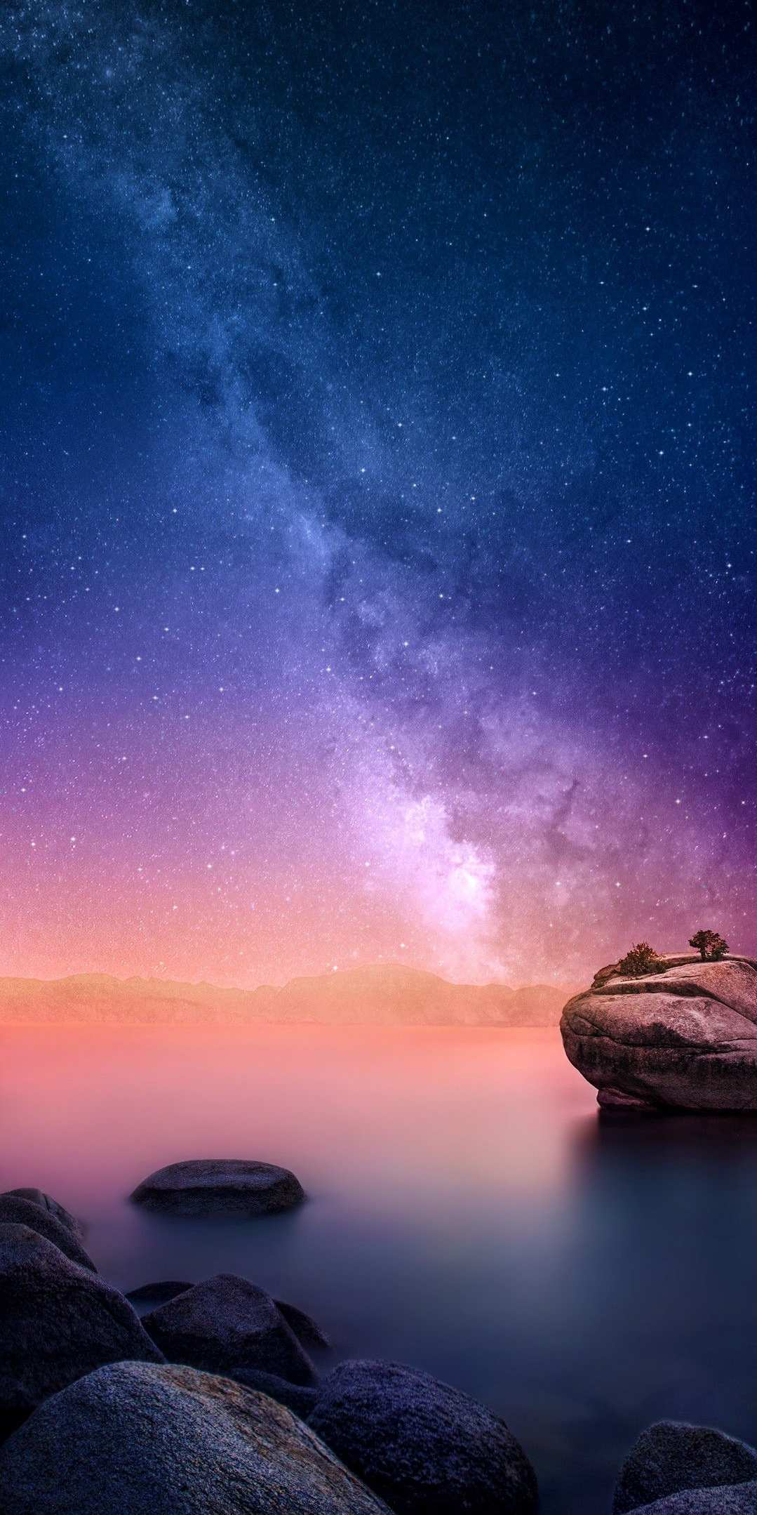 Night Sea Galaxy View From Earth iPhone Wallpaper