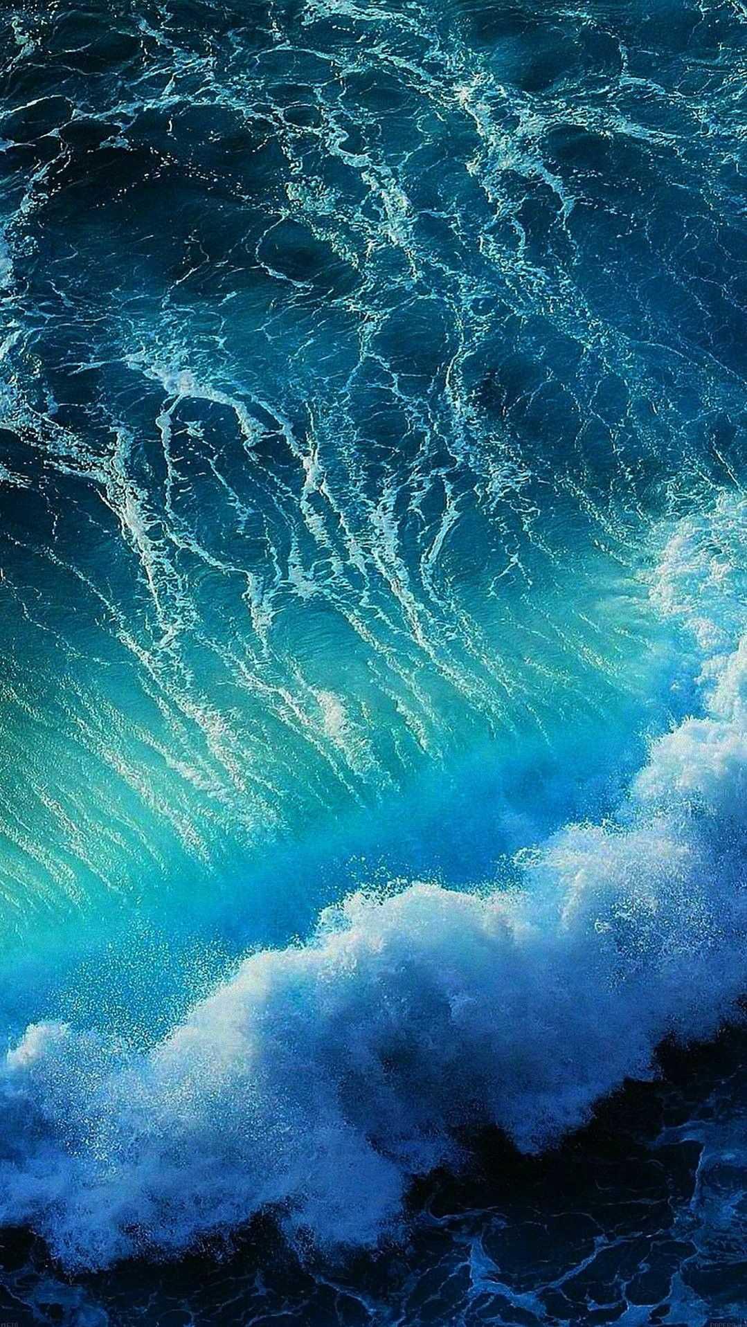 Ocean Blue Water Waves iPhone Wallpaper