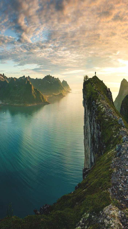 Ocean Mountains Beautiful Nature iPhone Wallpaper