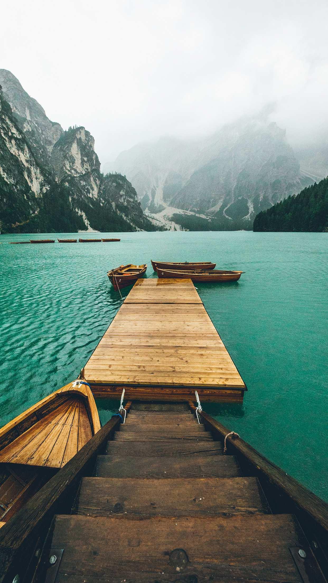 Pier Boats Nature Lake iPhone Wallpaper