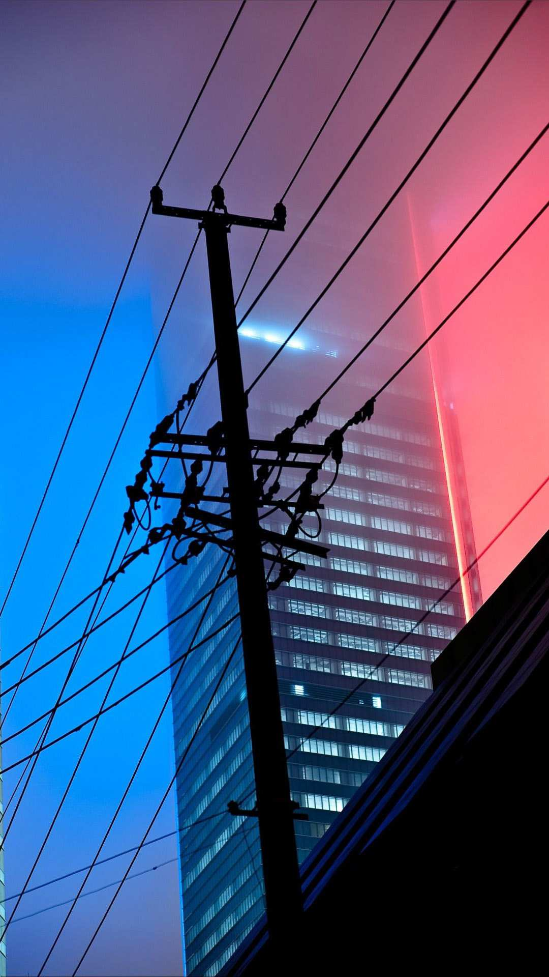 Powerlines Night Buildings Mist iPhone Wallpaper