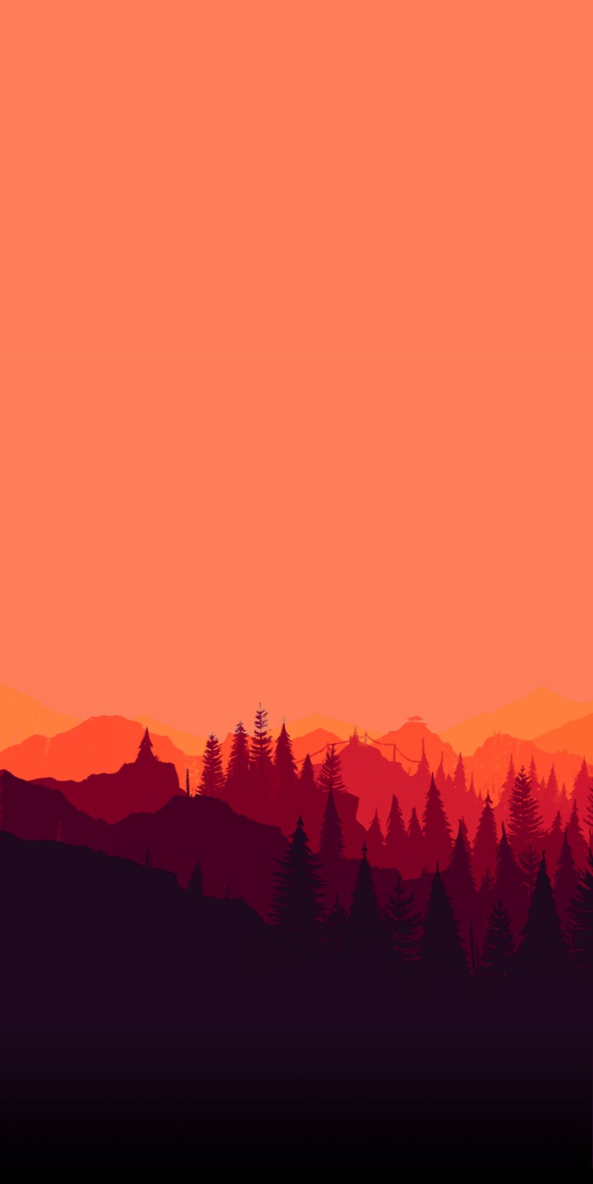 Red Forest Minimal Art iPhone Wallpaper