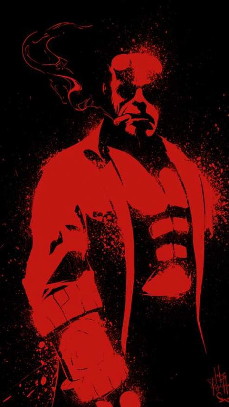 Red Hellboy iPhone Wallpaper