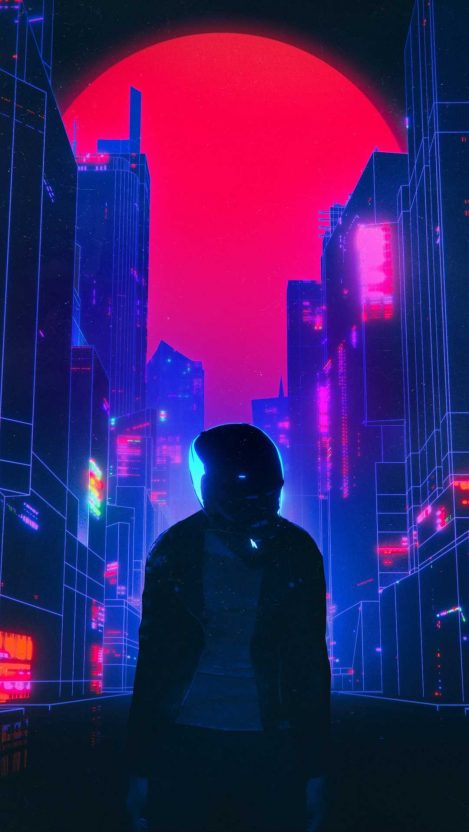 Retro Neon World iPhone Wallpaper