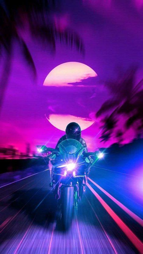 Retro Rider iPhone Wallpaper