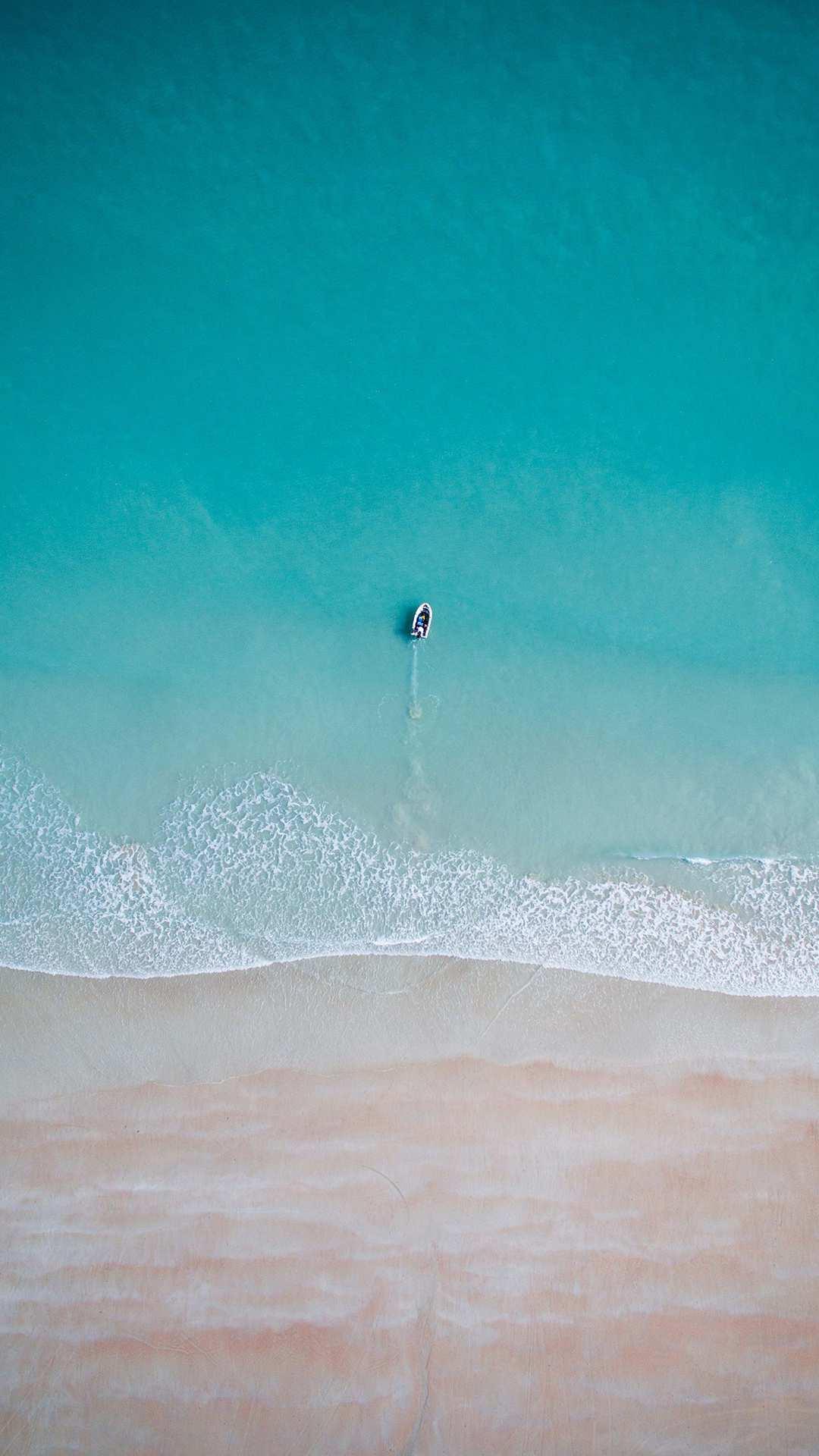 Sky View Beach Ocean Water Boat iPhone Wallpaper