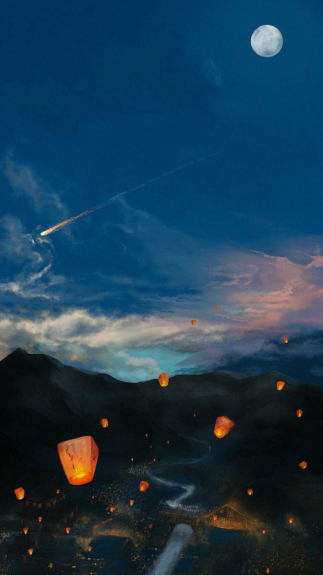 Sky lantern iPhone Wallpaper